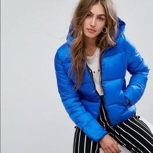 Bershka Blue Cropped Puffer Jacket